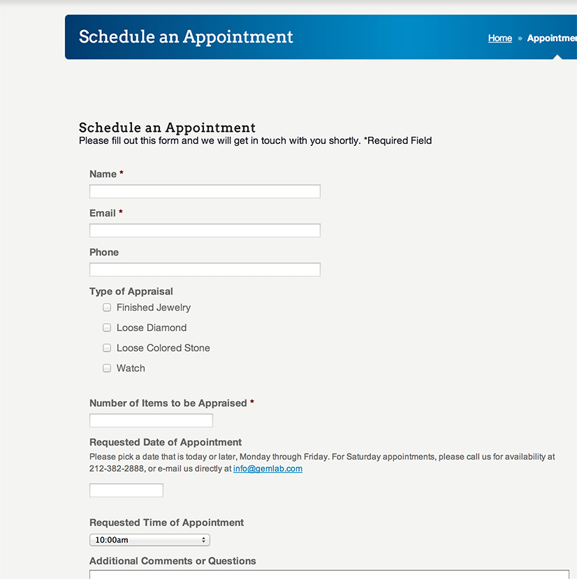 Appointment Scheduler Form | KPFdigital | Clean Simple Web Design ...